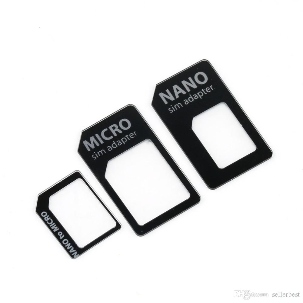 SIM MICROSIM Adapter Adapter 3 in 1 for Nano SIM to Micro Standard for Apple for iPhone 5 5g 5th Wholesale