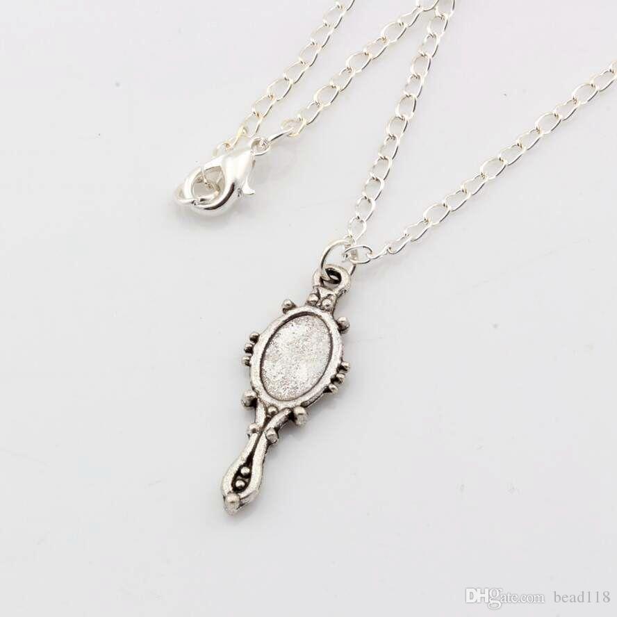 Heiß ! neues Europa und Amerika-Antike-Silber-Zink-Legierung * Nette alte silberne Spiegel * Charme-hängende Halskette