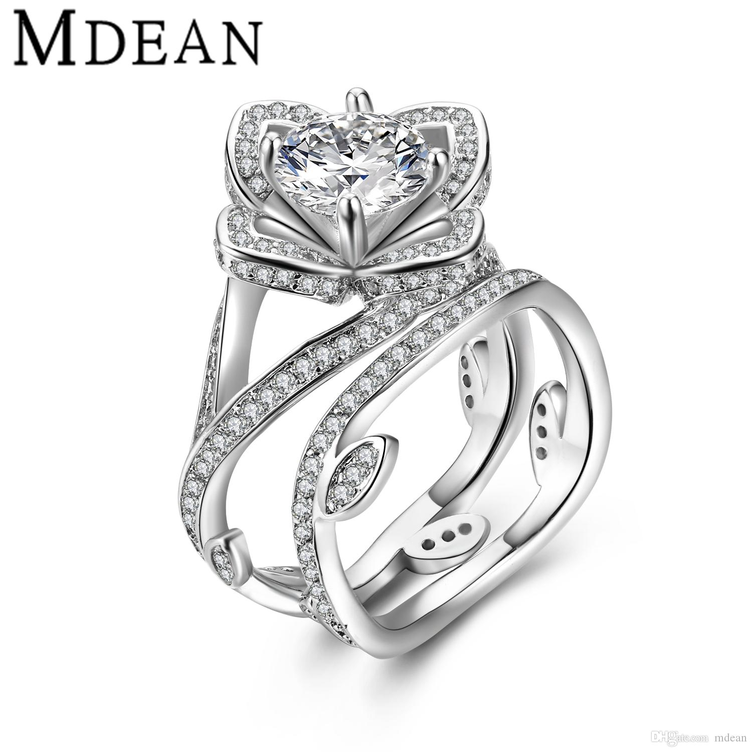2018 Mdean White Gold Plated Ring Sets For Women Engagement Cz