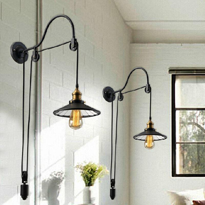 2018 Black Retro Vintage Adjustable Pulley Length Iron Glass Reading Wall L&s E27 Led Lights Sconce For Bathroom Bedroom Office Bar From Zhoudan5249 ... & 2018 Black Retro Vintage Adjustable Pulley Length Iron Glass Reading ...