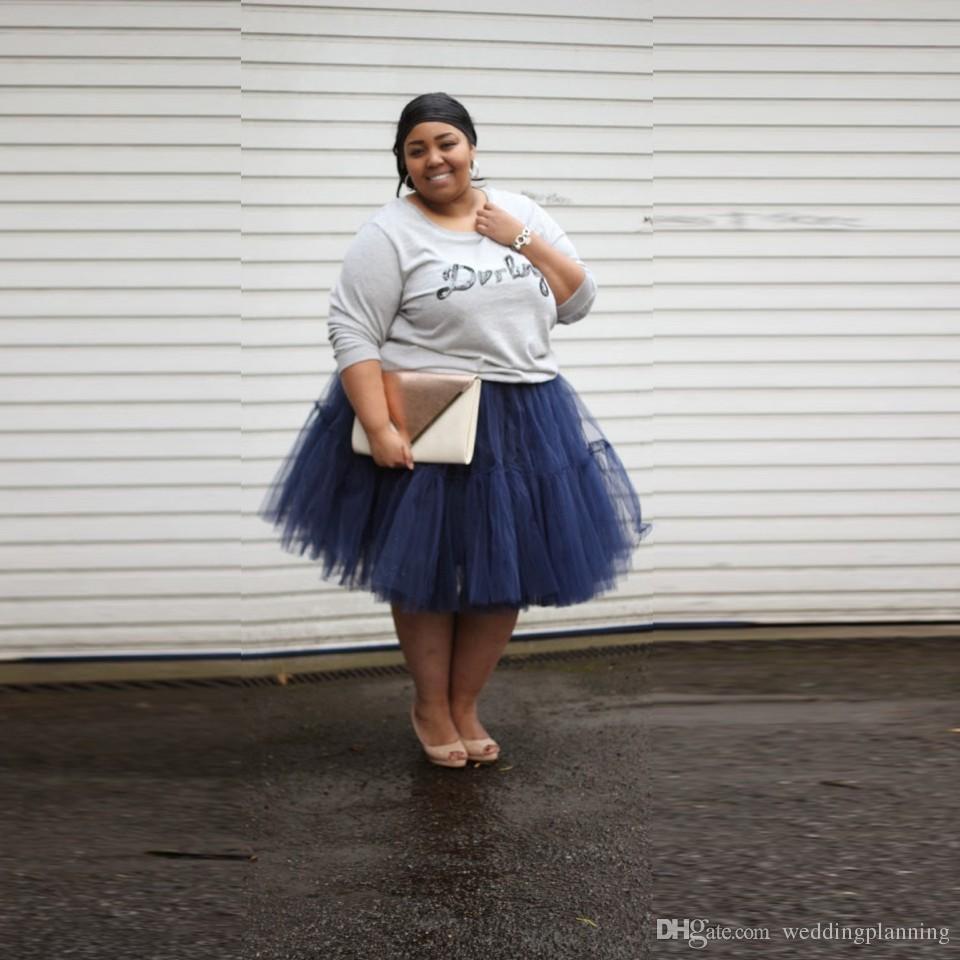 2017 2016 Autumn Fat Girl Wear Skirts Knee Legnth Tulle Tutu ...