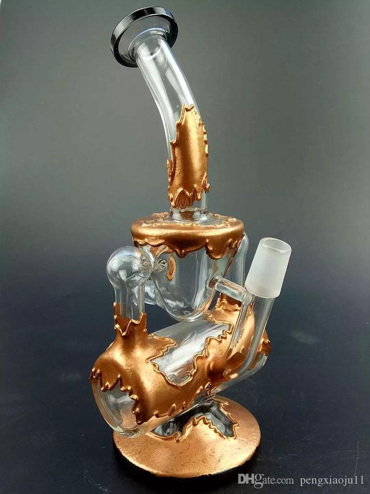 Newest Maple Leaf Silver Gold Color glass bong with Faberge Water pipe Glass Hookah Glass Bong Recycler with bowl