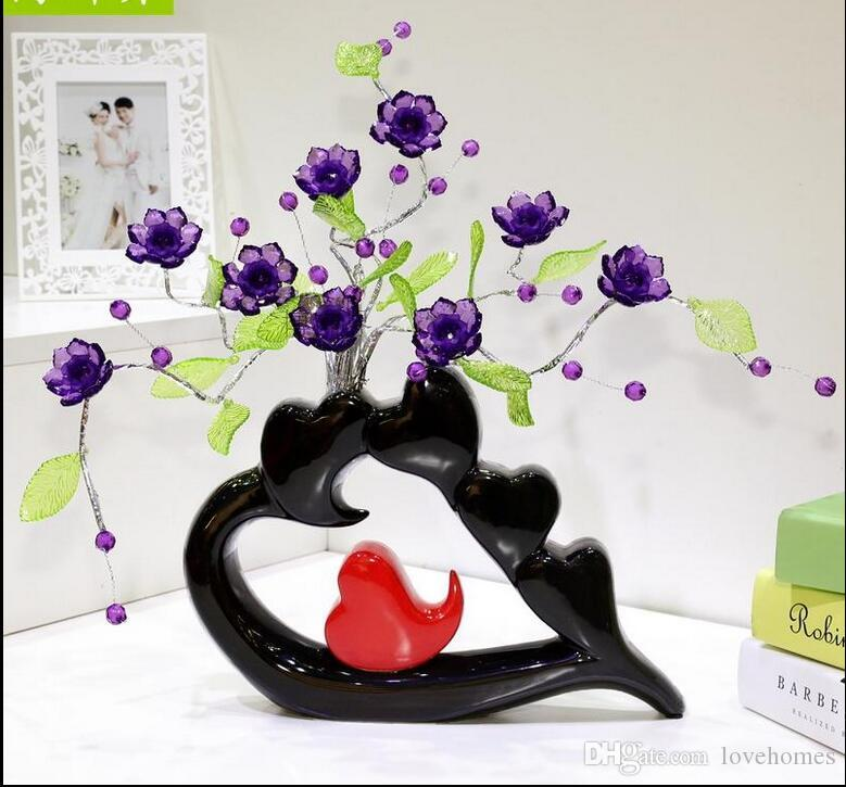 Modern Lucky heart 21 Shapes Ceramic Vase for Home Decor Tabletop this pirce is for a set vase and flowers together