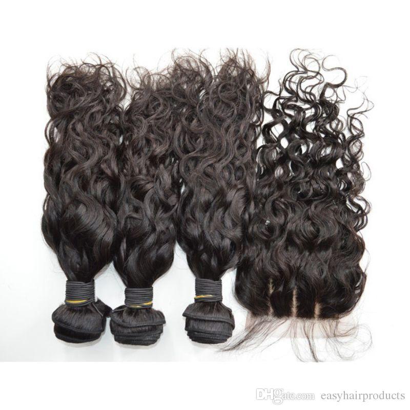 Brazilian Virgin Water Wave Human Hair Bundles With Silk Base Closure 4*4inch Natural Black Unprocessed Hair Extensions