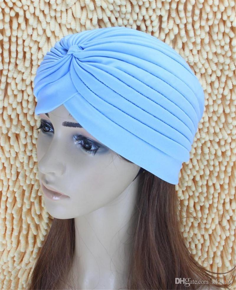 Big Satin Bonnet Turban Beanies Stretchy Turbante Head Wrap Band Sleep Hat Chemo Bandana Hijab Plisado Indian Cap