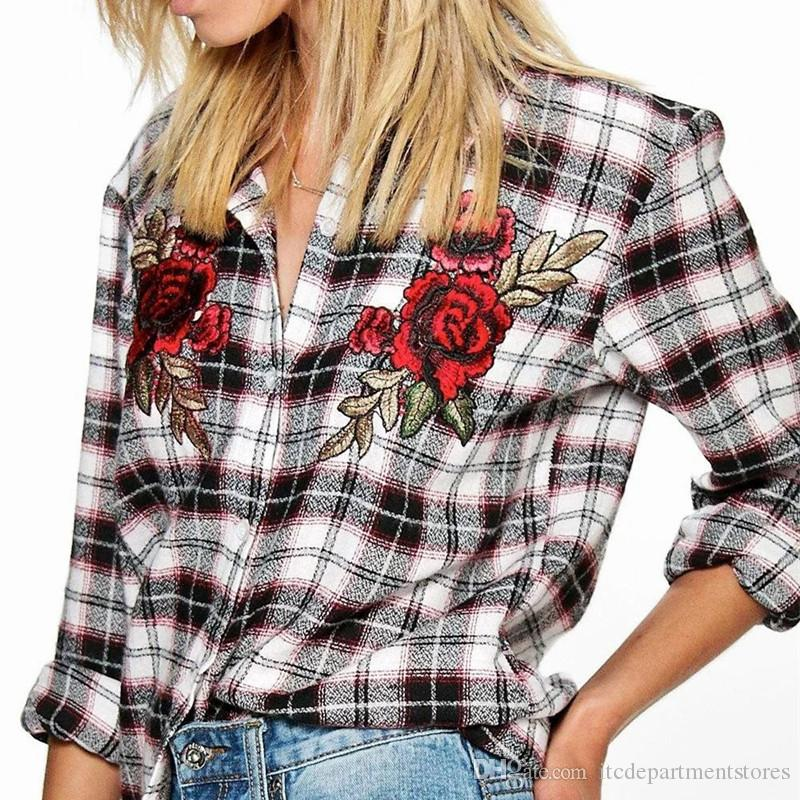 ef18abdaa1d Top Quality Women Plaid Shirt Autumn Long Sleeve Patch Embroidery Blusas Womens  Tops And Blouses Korean Fashion Clothing Online with  29.95 Piece on ...