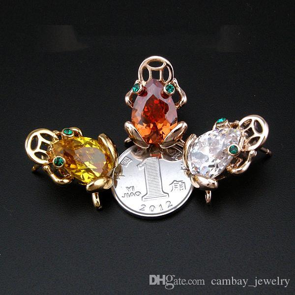 Moda Breastpin 18 K Chapado En Oro Broches Cristales Decorados Lucky Frog con Broche de la Moneda de Las Mujeres Decoración Del Partido Pernos de La Joyería