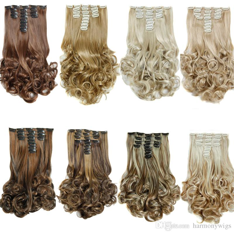 Synthetic Clip In Hair Extensions Curly Hair Pieces 20inch 180g Mix