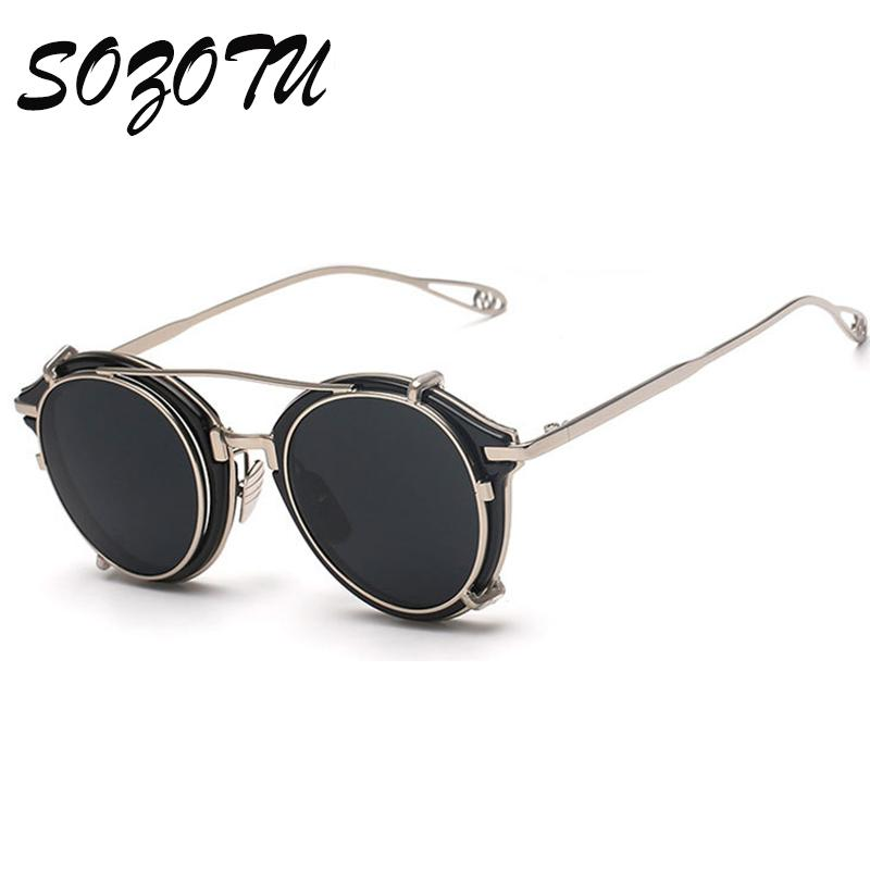 955b55eff6 Compre Al Por Mayor 2016 Moda Steampunk Gafas Gafas De Sol Redondas Mujeres  Hombres Vintage Gafas De Sol Señoras Diseñador De La Marca Para Hombre  Masculino ...