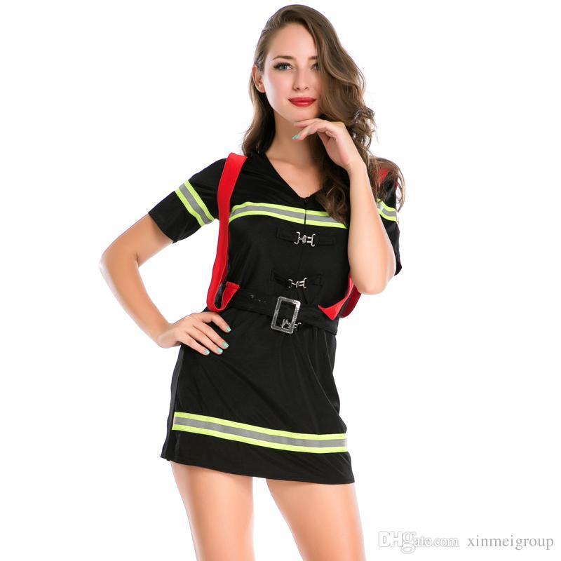 b407f083fcd2 Acquista Sexy Femminile Vigile Del Fuoco Abbigliamento Halloween Cosplay  Gioco Di Ruolo Uniformi Tentazione Donne All ingrosso Pompieri Abito Manica  Corta ...