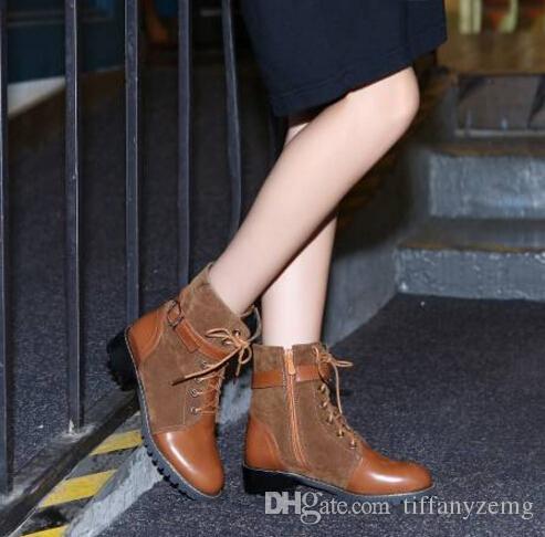 2018 новый кожаный ворсинок Мартин сапоги Женские старинные ретро теплые пешие прогулки спортивная обувь женщины плоскодонные случайные Мартин сапоги