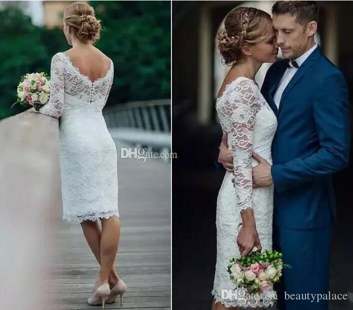 Charming Short Full Lace Wedding Dresses 2018 Long Sleeves Sheath Knee Length Country Beach Dress For Bridal Gowns Vestidos De Noiva Cheap