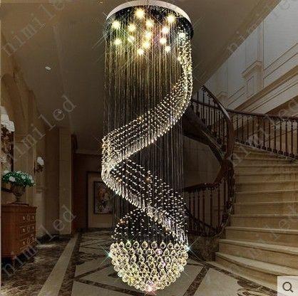 nimi1011 Dia 40-100 cm Espiral Escada Lustre Lâmpada de Cristal Penthouse Villa Sala de estar Luzes Restaurante Lobby Do Hotel Pingente de Iluminação