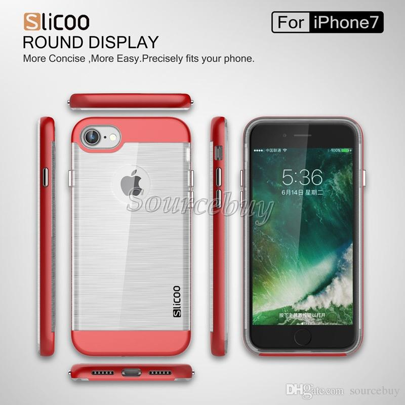 For Iphone 7 Plus I7 Slicoo Case Brush Finish web Symphony-Plating Series PC TPU Hybrid Dual-layer Shockproof Clear Phone Cover Skin iphone7