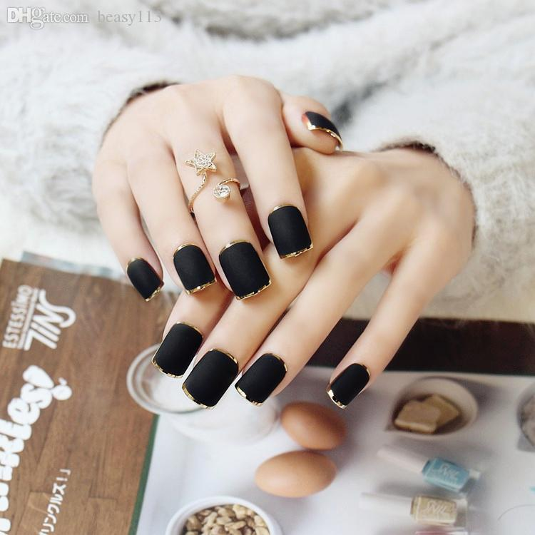 Wholesale New Arrival Golden Full Frame Frosted Fake Nails Short ...