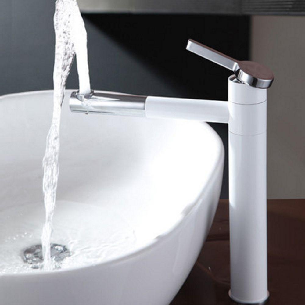 BLL cromado y color blanco Grifería de latón de cascada grifo de baño alto grifo mezclador de lavabo de baño con grifo de fregadero caliente y frío