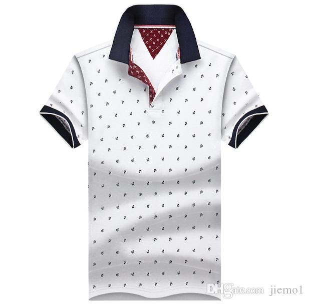 Compre Moda Caliente Para Hombre Camisas De Polo Impresas 100% Algodón De  Manga Corta Camisas Polo Stand Collar Hombre Polo M 4XL Plus A  19.77 Del  Jiemo1 ... 9ecb0b4337a92