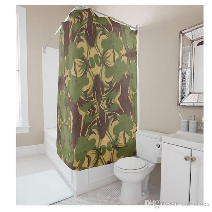 Customs 36 48 60 66 72 W X H Inch Shower Curtain Green Camo Waterproof Polyester Fabric DIY Bathroom