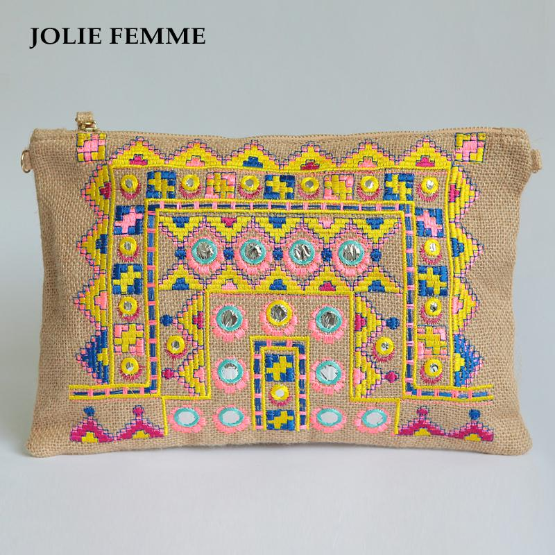 ea6ca5418f08 Envelope Clutch Vanity Women Bags Handmade Double Face Ethnic Embroidery  Day Purse with Cell Makeup Cosmetic Bag Travel Toiletry Bag
