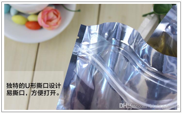 "New 7*13cm 2.8*5.1"" Aluminum Foil / Clear Resealable Valve Zipper Plastic Retail Packaging Packing Bag zipper Lock Bag Pouches Polybag"