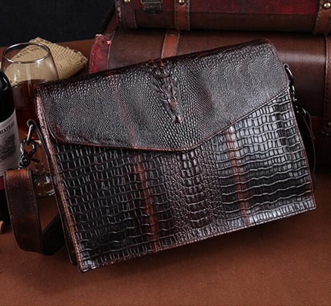 6c1b0e6566383 Factory Wholesale Brand Bag Retro Wax Leather Shoulder Bag Man Clamshell  Leather Briefcase Art Fan Crocodile Embossed Leather Shoulder Bag Leather  Purse ...