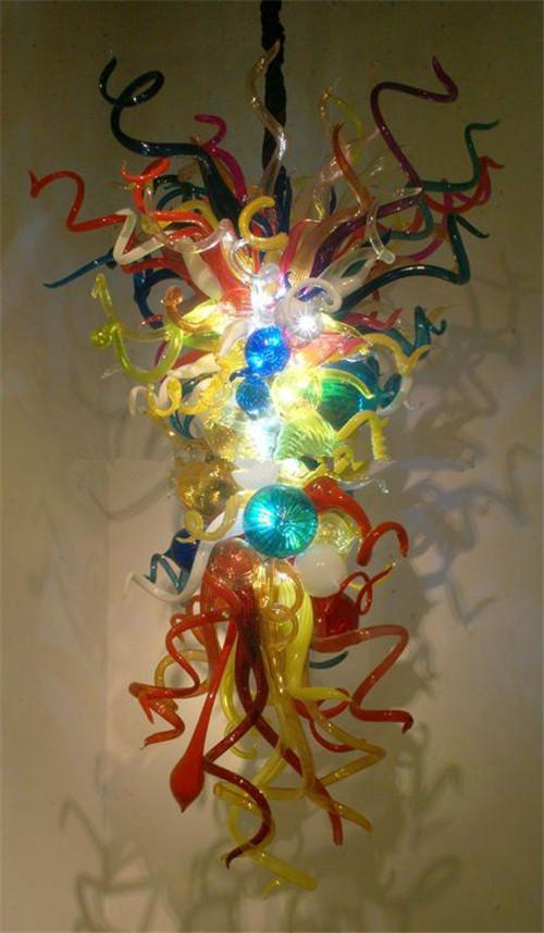100% Mouth Blown Glass Chandelier Light in Dubai Multi Colored Crystal Pendant Lamps for Home Designed