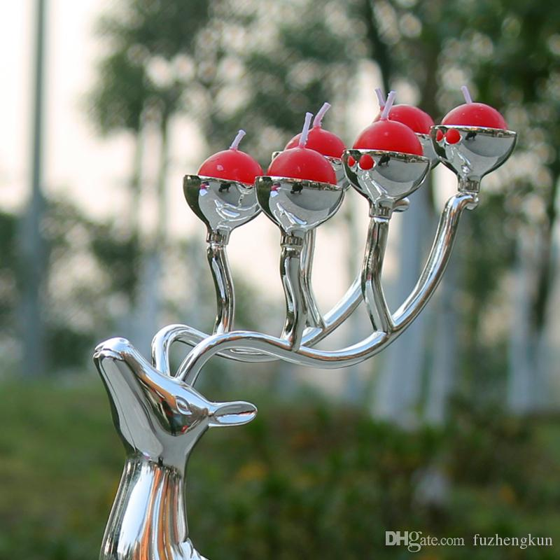 Silverpläterad hjortform metallstearinhållare, 6-armar Candelabra med gratis ljus, dekorativt ljussticka