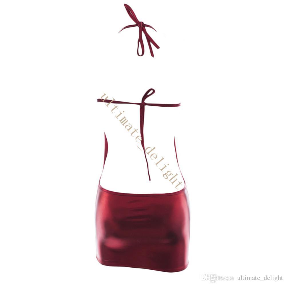 براءات الاختراع والجلود الحمراء معلقة الرقبة نمط عارية الظهر أدنى قطعة واحدة من قطعة ثوب البسيطة تنورة المرأة مثير القماش