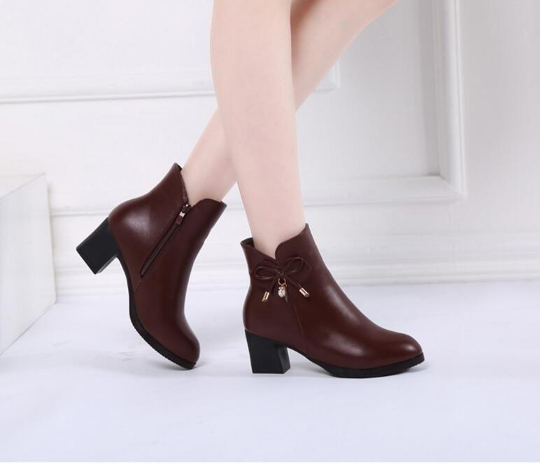 Stivali donna inverno caldo piattaforma 2017 New Fashion High Square tacco donna nero Chunky stivaletti scarpe 2DX18