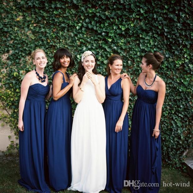3 Styles Navy Blue Bridesmaid Dresses Chiffon Floor Length Long Maid Of Honor Wedding Guest Dresses Custom Dresses Summer Beach Gowns