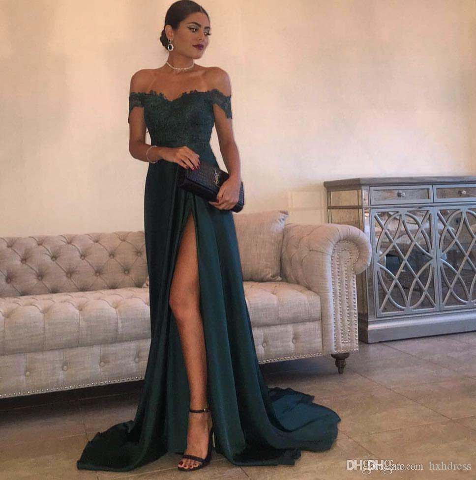 2019 A-Line Hunter Green Chiffon High Split Cutout Side Slit Lace Top Sexy Off Shoulder Hot Formal Party Dress Prom Dresses Evening Gowns 03