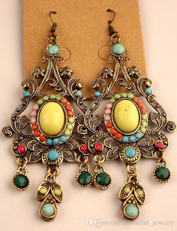 2018 vendas quentes tibetano Vintage Prata / Bronze Resina Gem brincos de diamante jóias de estilo Bohemia misturado 25 Estilo /
