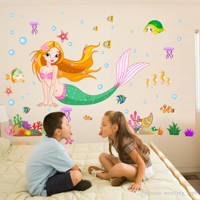 2016 Removable Cartoon Lovely Beautiful Wall Stickers Mermaid Wall Stickers  For Kids Room Bedroom Living Room Cheap Removable Wall Decals Cheap Tree  Wall ... Part 77