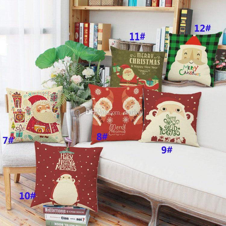 53 Diseño de Navidad Funda de Almohada Santa Claus Reno Owl Tree Elk Bear Cat Dog Impreso Funda de Cojín Home Car Decoración Decoración WX9-72
