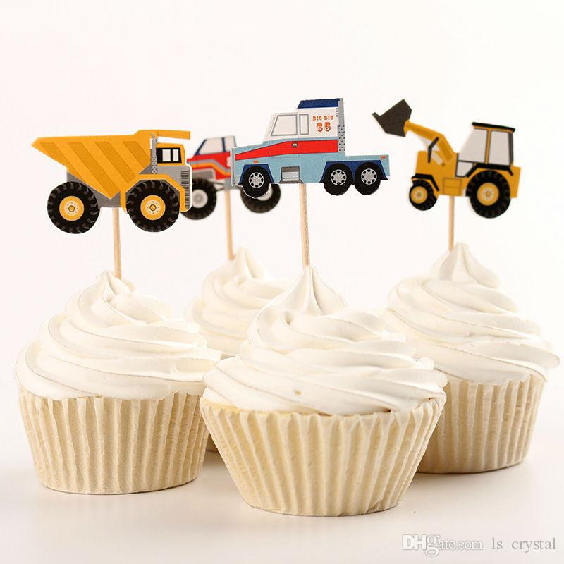 2019 Paper Truck Tractor Cake Topper Sailing Fruit Stickers Cupcake Decoration Children Birthday Party Supplies DEC071 From Ls Crystal 754