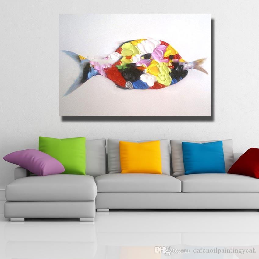 New Design Fish Oil Painting Modern Canvas Painting Living Room Wall Decor Pictures Hand Painted Nice Color Painting No Framed