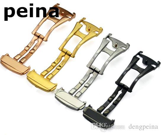 16mm NEUE Edelstahl Watch Bands Implementierung Verschlussfassung Strap Schnalle Männer Frauen Sport Herrenuhren Strap Band für Omega Watch