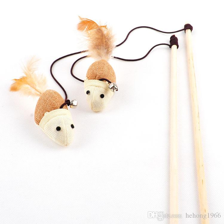Tease Cat Rods Mouse Head Linen With Bells Training Pet Toys Funny Cat Toy Many Styles 2 5wm C R