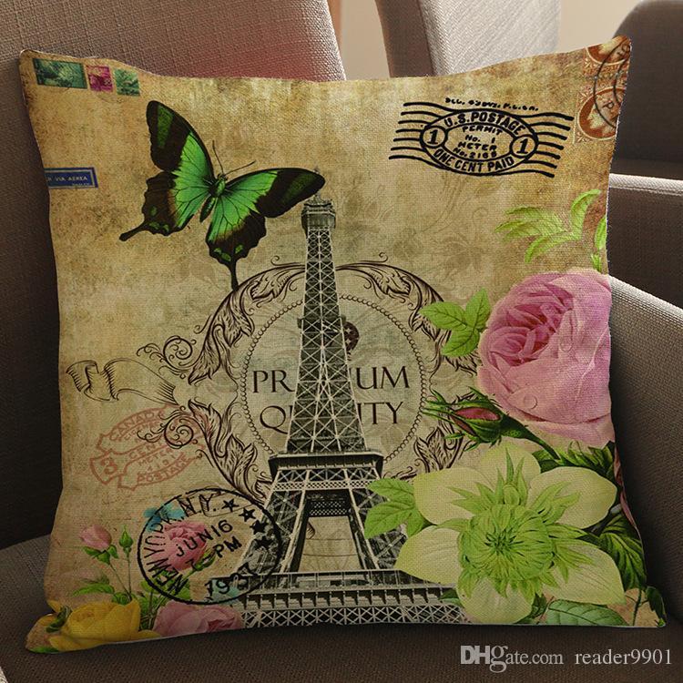 Paris tour Big Ben papillon Palm Tree Cartoon créatif imprimé oreiller Accueil Canapé coussin velours de lin confortable housse de coussin 45 * 45 cm