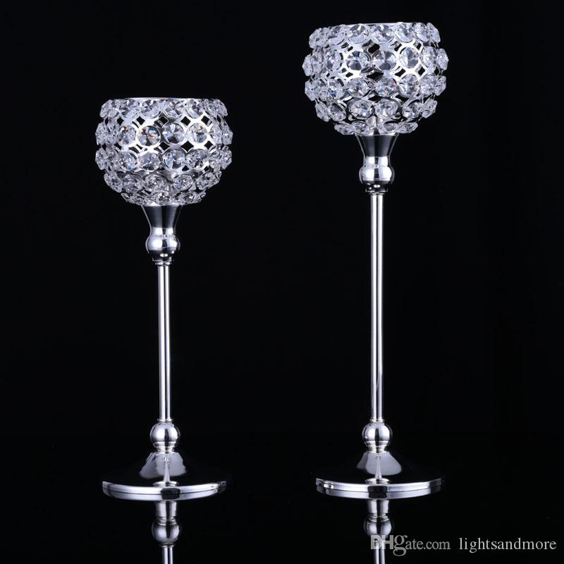 30cm and 35cm one set tall gold silver color crystal beaded ball shape votive candle holder candlestick for wedding event decor