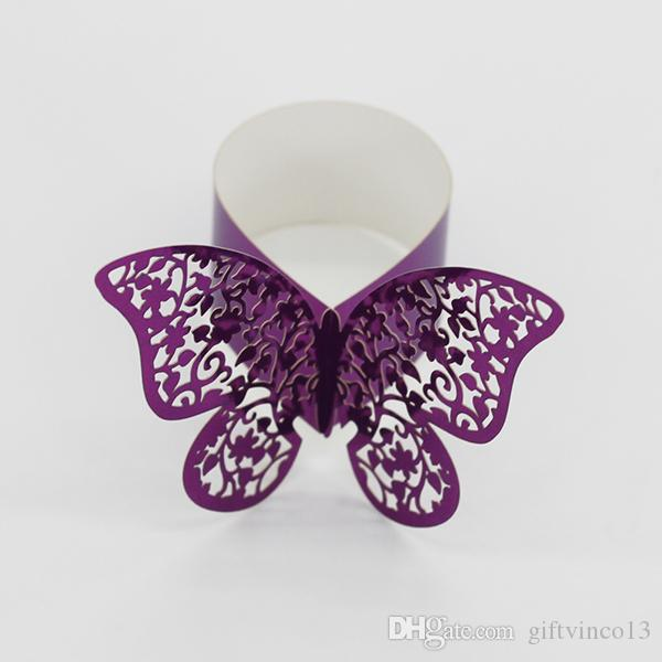 Laser Cut Butterfly Paper Napkin Ring Holders Hollow out Paper Napkin Band Buckle Ring Wedding Party Home Hotel Table Decoration