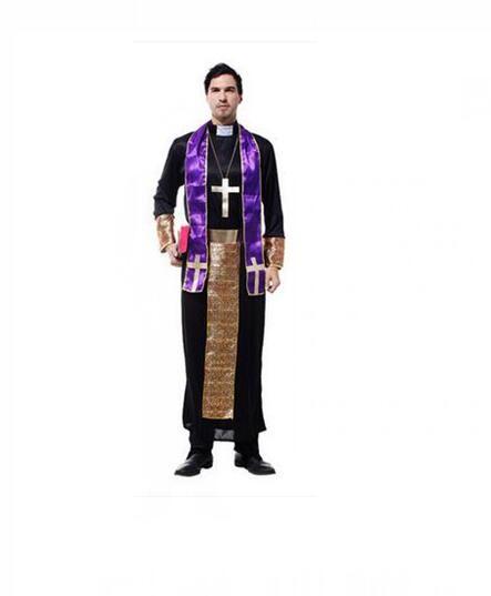 Halloween Adult Mens Priest Costume Medieval Monk Christian ...