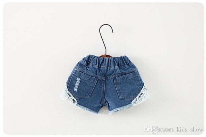 Girl summer denim trousers Children Pants for girls Jeans Shorts with laces ripped beach Factory Sale Child Clothing wave