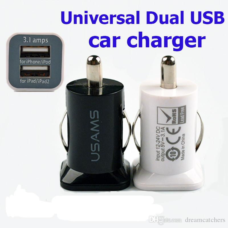 USAMS 3.1A USB Double 2 Port mini Chargeur de Voiture 5 V 3100 mah Power Adapter pour iPhone 6 s 5 s Samsung S7 S6 bord HTC Universel