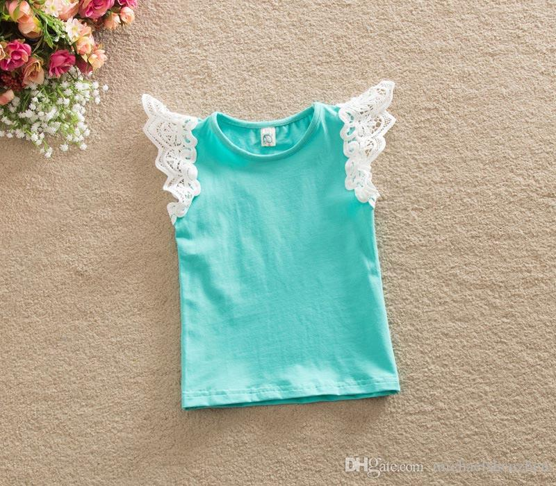 7 Chicas de diseño INS rayas de punto punto encaje Flying manga chaleco camiseta DHL moda infantil dibujos animados Flying manga chaleco camiseta bebé ropa B001