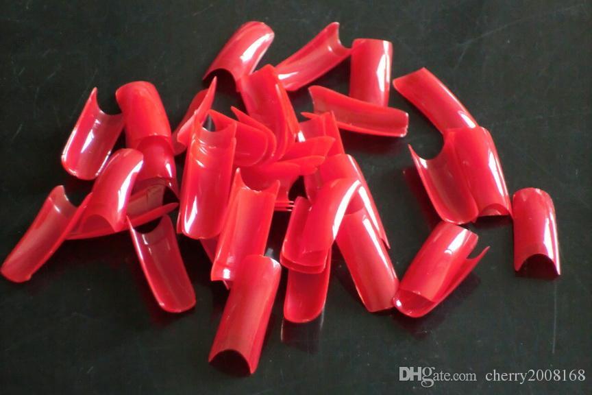 500 teile / sack rote farbe diy zu hause künstliche französische maniküre nagelspitzen gefälschte falsche nails tipps