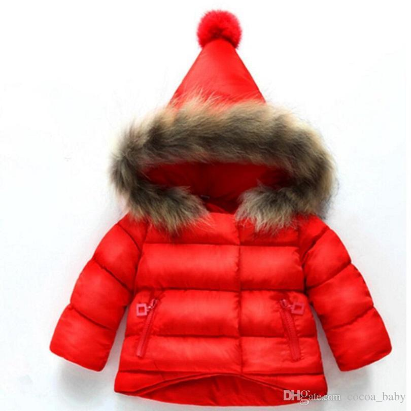 1b2dbc272e912 Children Christmas Red Coat Baby Girls Winter Coats Long Sleeve Coat ...