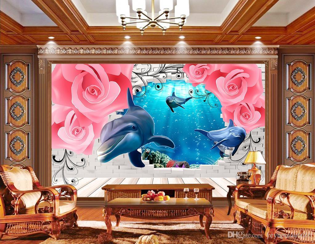 Europejskie Róże Delfiny Niestandardowe 3d Mural Tapeta 3D Salon TV Tło Bedroom Wall Papers Home Decor