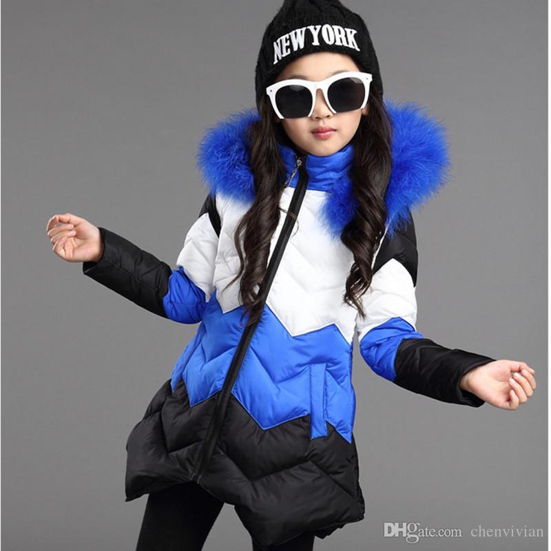 2016 Brand Girls Winter Coat Long Sections Jacket Girls Winter Fur ...