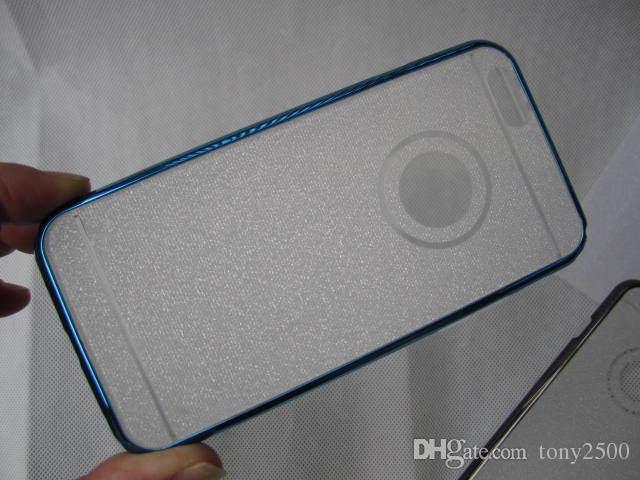 Deluxe Plating Bling Glitter Chrome Hard Bumper Frame +Soft TPU Case Metallic Electroplate Sparking Shiny Skin iphone6 samsung